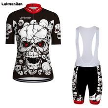 SPTGRVO LairschDan 2019 White Skull Summer Cycling Clothing Kit Men/Women Road Bike Jerseys Set Mountain MTB Outfit Bicycle Suit