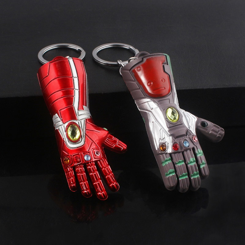Vengadores, llavero de Metal de Guantelete del Infinito de Iron Man, guantes de Thanos poder infinito para hombres, joyería de recuerdo para seguidores de películas