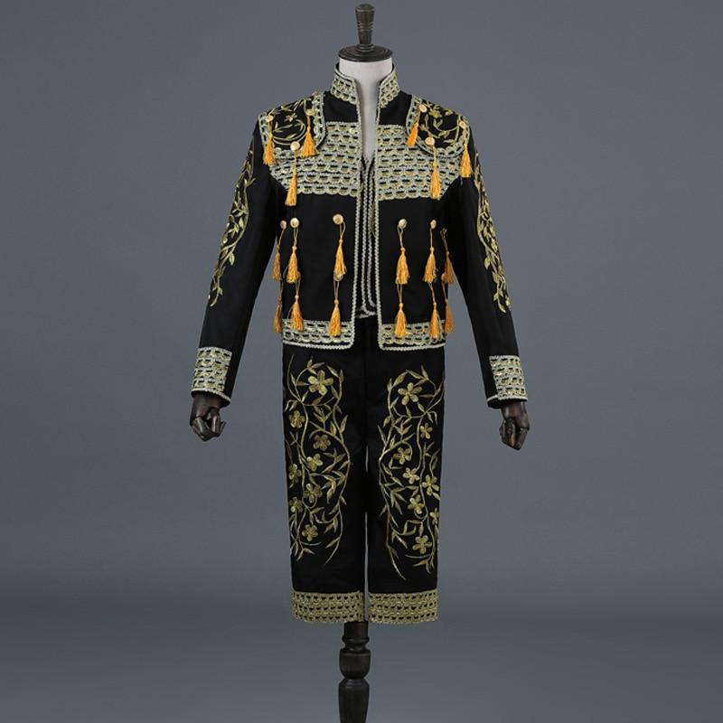 بدلة مغنية مرصعة بالترتر مع تطريز ذهبي ، بدلة من 3 قطع ، (جاكيت بنطلون وسترة) ، بدلة مغنية مصارعة بليزر ماتادور ، بدلة رقص