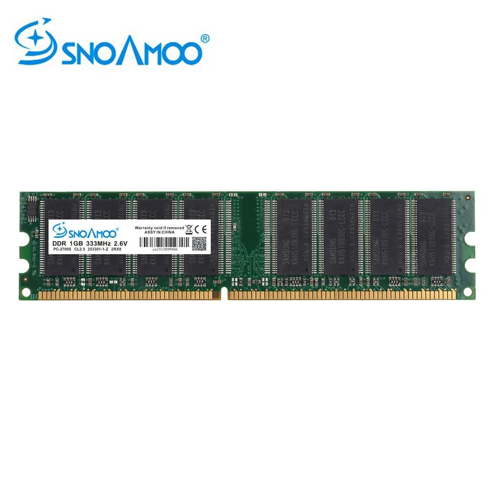 SNOAMOO DDR1 DDR 1GB PC2700/3200 DDR 333MHz/400MHz 184Pin Настольный ПК Память CL2.5 DIMM RAM 1G пожизненная Гарантия
