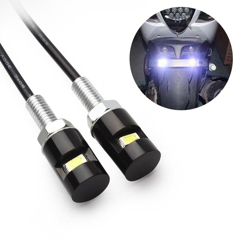 ITimo luz con tornillo y tuerca LED blanco coche de estilismo de motocicleta lámpara de placa de matrícula 12V SMD 5630 2 unids/lote Universal Número de cola H10784