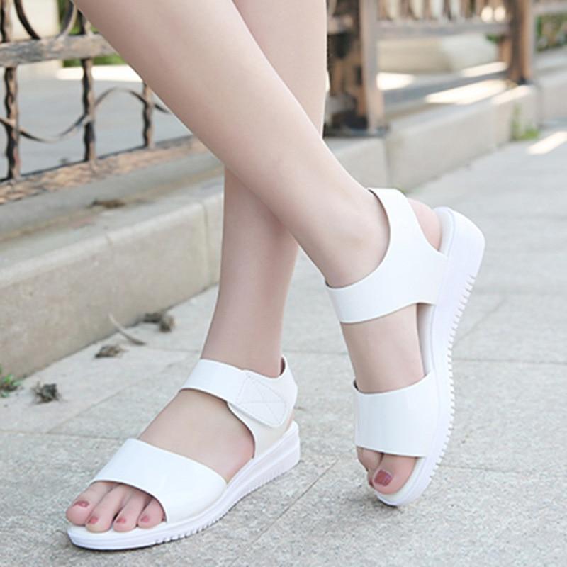Weiche Leder Frauen Sandalen 2019 Sommer Frauen Schuhe Süße Damen Flache Plattform Schuhe Junge Damen Sandalen Weichen Heißer Verkauf A763