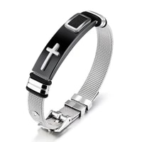 adjustable fashion accessories for individual ornaments of titanium steel boys bracelet with gold cross between steel mesh band