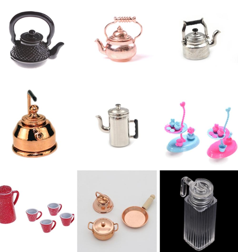 1/12 puppenhaus Miniatur Zubehör Mini Metall Wasserkocher Simulation Möbel Tee Topf Küche Modell Spielzeug für Puppe Haus Dekoration