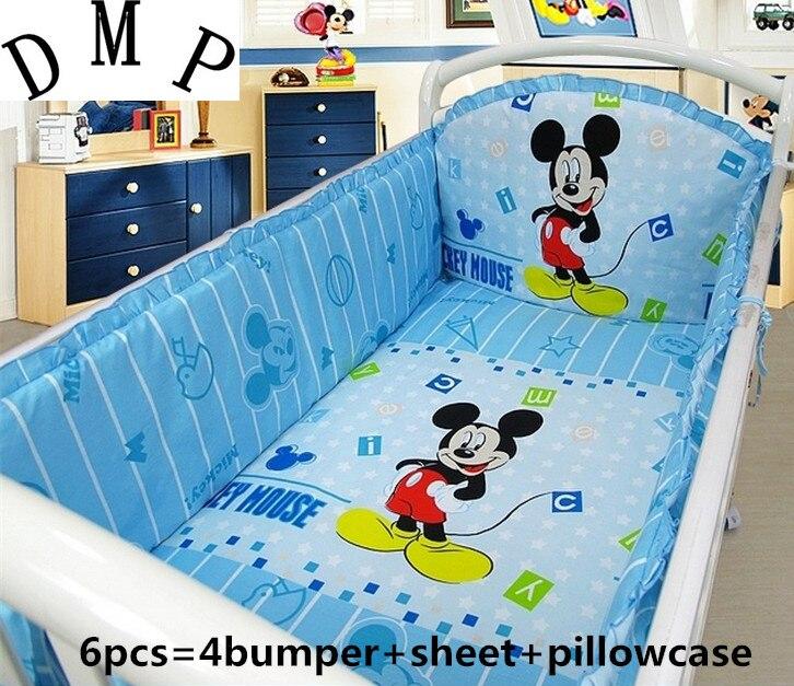 6PCS Cartoon Crib Baby bedding set cama bebe baby bumper cotton Infant Room Decor baby bedclothes (4bumpers+sheet+pillow cover)