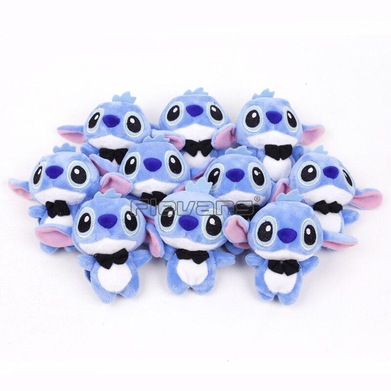 Lilo & Stitch Mini Stitch Angel dibujos animados Kawaii colgantes de felpa juguetes de peluche suaves muñecas 10 unids/lote