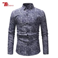 new autumn men lapel tops casual loose rose printing shirt long sleeve fiber blend dress shirts unique floral print multi colors