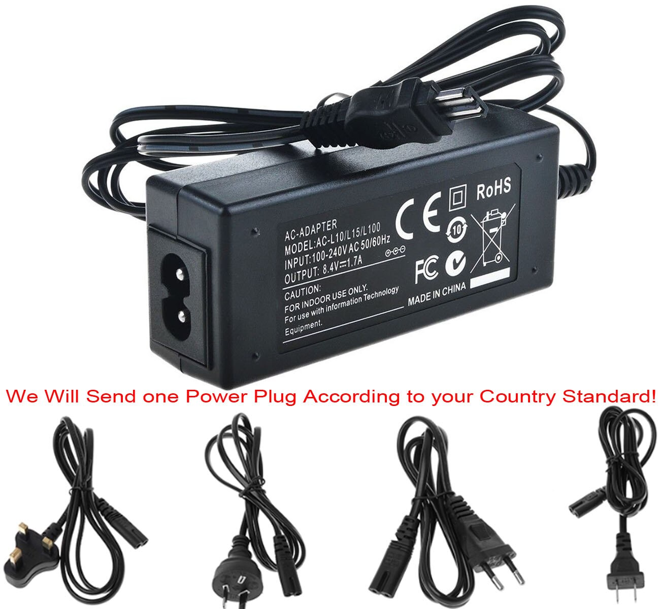AC адаптер питания зарядное устройство для Sony AC-L10, AC-L10A, AC-L10B, AC-L10C, AC-L15, AC-L15A, AC-L15B, AC-L15C, AC-L100, AC-L100C