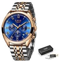 Mens Watches LIGE Top Brand Luxury Men's Fashion Business Watch Men's Stainless Steel Waterproof Watch Sports Quartz Clock+Box