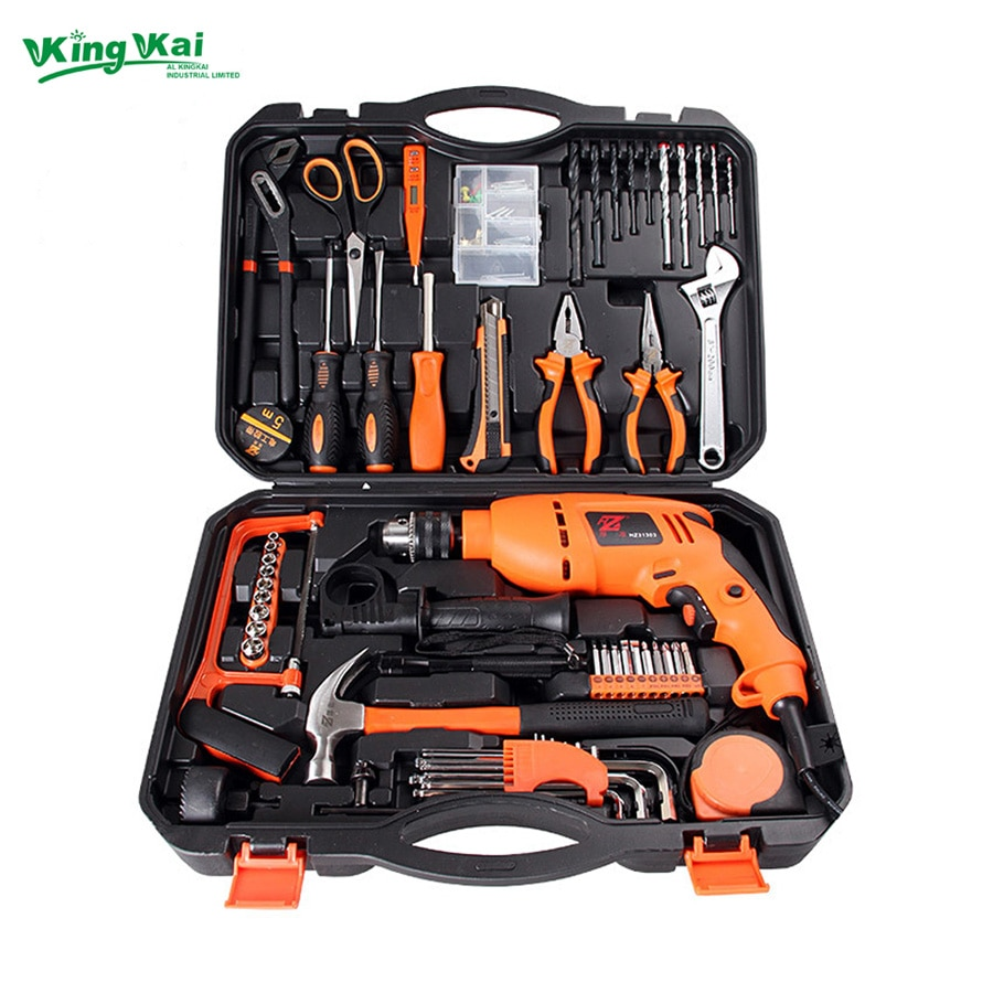 125 Piece Multifunctional Hardware Tools In Hand Tool Sets With Electric Drill,Screwdriver,Hack Saw,Wrench And Claw Hammer