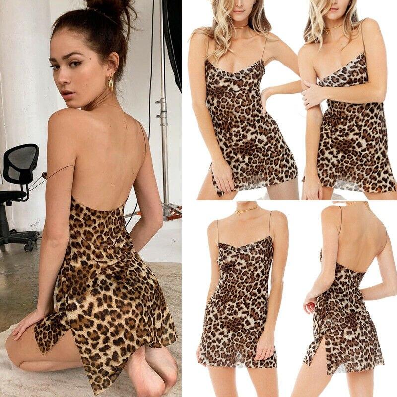 Sexy mujeres leopardo Lencería de impresión traje de ropa sin mangas Vestido corto Mini vestido Sleepdress pijamas dama Correa camisón