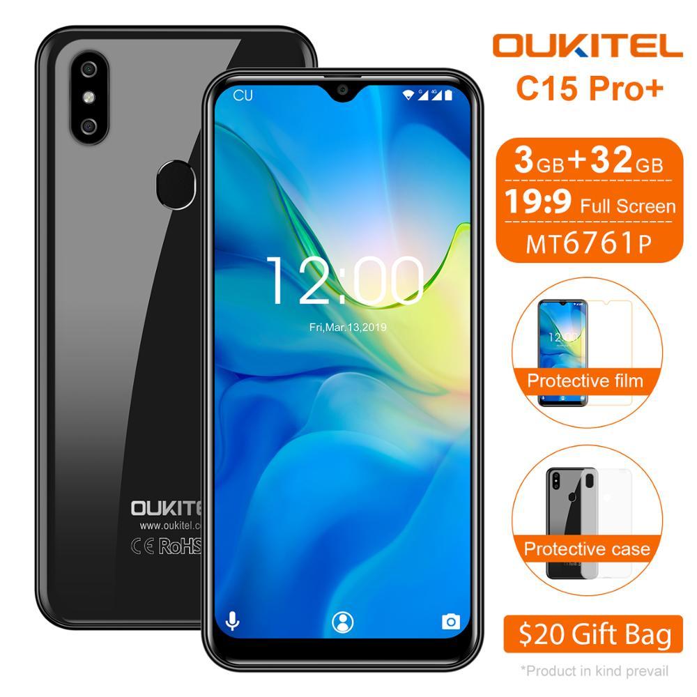 Перейти на Алиэкспресс и купить OUKITEL C15 Pro + 6,088 дюймводонепроницаемый мобильный телефон C15 Pro + Android 9,0 мобильный телефон 3 ГБ 32 ГБ MT6761 4G четырехъядерный смартфон 3200 мАч