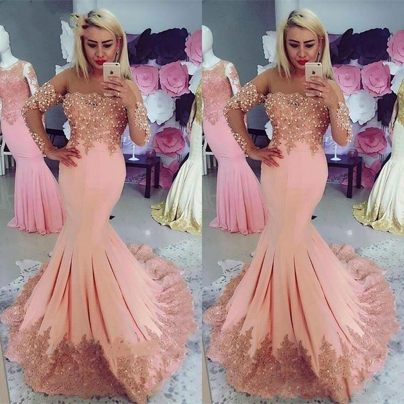 Abendkleider Lange Abiye Gece Elbisesi Robe Soiree Arabisch Formale Kleid Abendkleid Meerjungfrau Volle Hulse Perlen Vestidos Largos