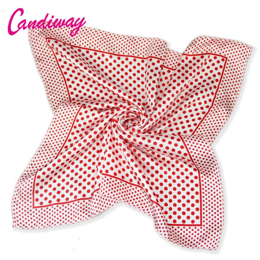Heißer Hohe Qualität Büro Frauen Red Dot Schal Bandana Silk Sommer Mode Schal Platz Foulard Frauen Plaid Schals Hijab 50cm