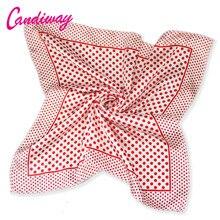 Hot High Quality Office Women Red Dot Scarf Bandana Silk Summer Fashion Scarf Square Foulard Women Plaid Scarves Hijab 50cm