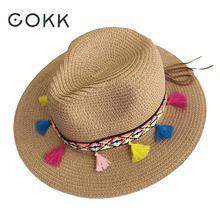 COKK-chapeau dété pour femmes   Chapeaux de plage pour femmes, paille large bord, couleur gland chaîne, Panama plage seau, chapeau de soleil dame