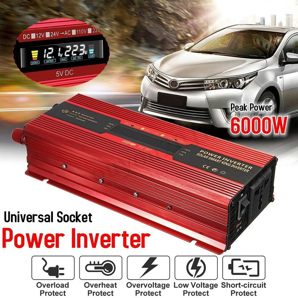Lcd 6000 w inversor de energia solar dc12v 50 hz conversor de energia impulsionador para carro inversor casa diy carro inversor cigarro novo