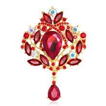Élégant diamant multicolore nuptiale pour mariage cristal strass alliage broche femmes élégant couronne verre bijoux de fête