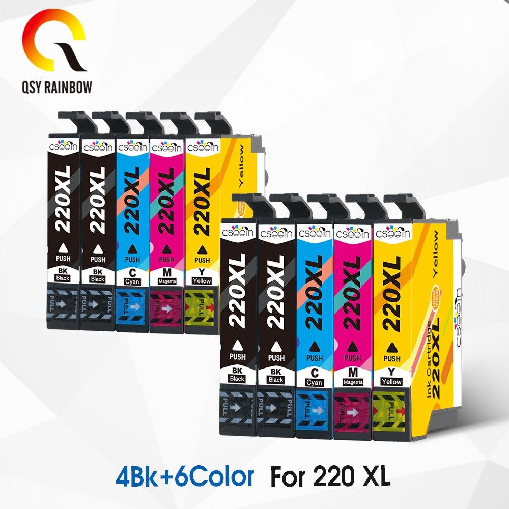 QSYRAINBOW 10Pk 220 XL cartucho de Tinta Compatível Para Epson Expression T220 XP320 XP420 XP424 WorkForce 2630 2650 2660