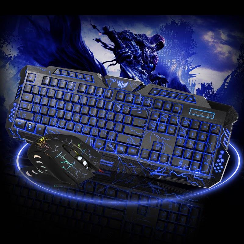 Jogo teclado mouse combo retroiluminado led + colorido gaming mouse luz 7 botões para desktop portátil dja99