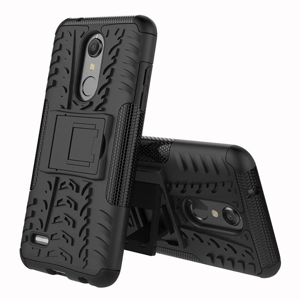 Para LG K10 2018/K30/K10 + 2018/K10 Alpha/Premier Pro LTE Caso Dual Layer pneu Caso Robusto Impacto Kickstand Capa Dura de Proteção