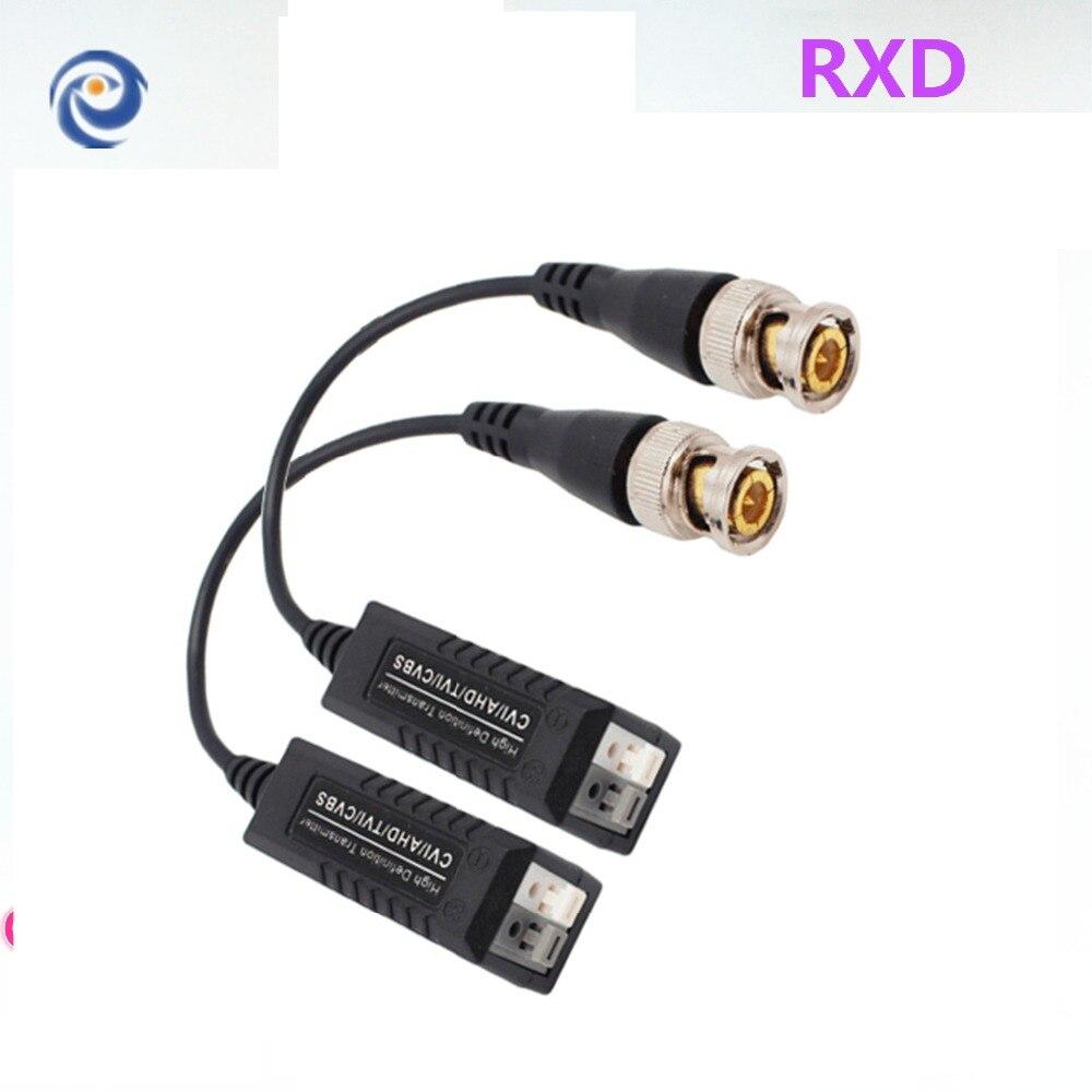 RXD pasivo CVI/AHD Balun de vídeo 600m transceptor de vídeo transmisor de par trenzado CCTV UTP Balun con BNC macho CAT5