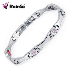 Rainso élégant acier inoxydable énergie santé Bracelet magnétique avec aimant strass amitié Bracelets pour femme 2020