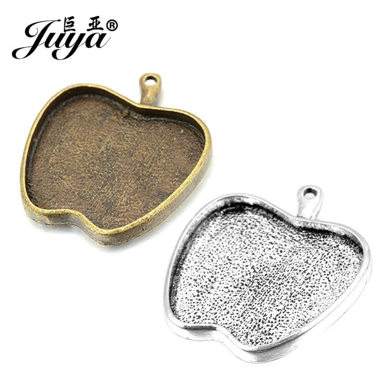 JUYA China bisel proveedores en blanco 6 unids/set 25mm tamaño interior bronce antiguo nuevo de moda forma de manzana cabujón Base ajuste AD0100