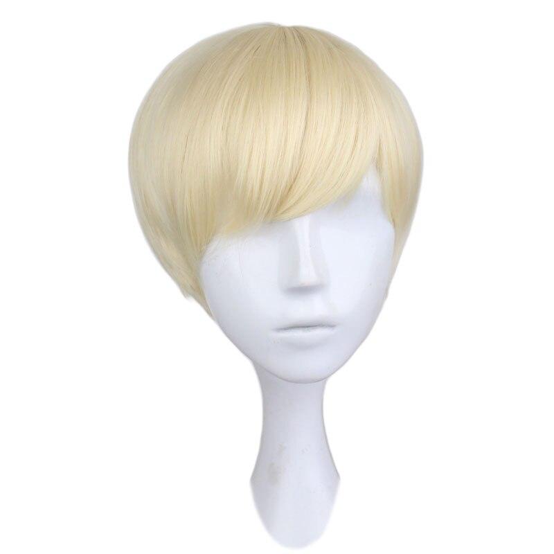 Синтетические волосы QQXCAIW, короткие прямые, для костюмированной вечеринки, для мальчиков, блонд, 30 см
