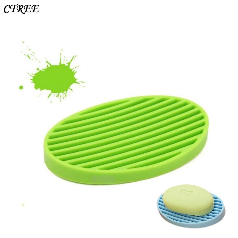 CTREE Simple Silicone Flexible Soap Case Dish Drain Wash Shower Home Bathroom Accessories Multicolor Drain Water Soap Dish C39