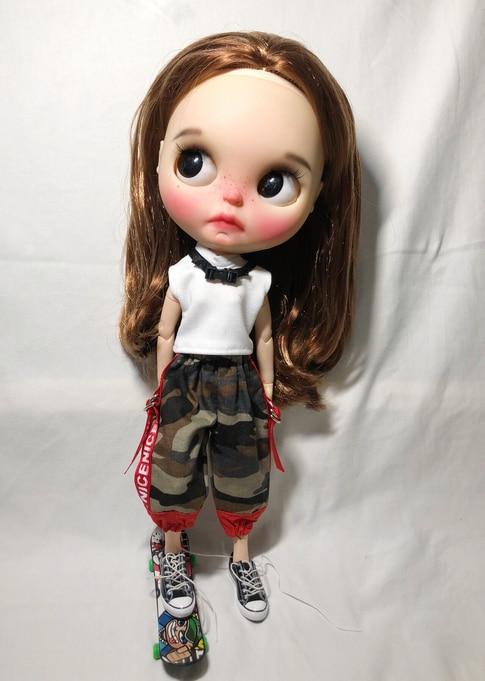 T02-X593 blyth boneca roupas 1/6 bonecas azone acessórios artesanal roupas gola alta camiseta calças de camuflagem