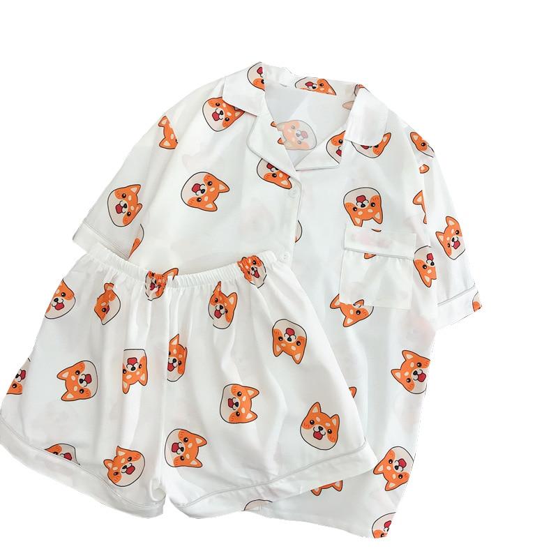 Women Cotton Pajama Set Bangtan Boys Kpop Harajuku Cartoon Printing Kawaii Pyjamas Korean Japanese summer Short Sleeve Pijama