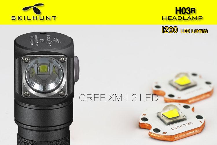Новый светодиодный налобный фонарь Skilhunt H03R, Lampe Передний фонарь Cree XML1200Lm, налобный фонарь для охоты, рыбалки, кемпинга, налобный фонарь + повя...