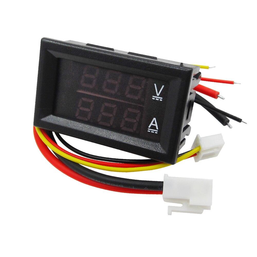10 قطعة DC 0-100 V 10A الرقمية الفولتميتر مقياس التيار الكهربائي العرض المزدوج كاشف جهد الحالي متر لوحة أمبير فولت المقياس 0.28