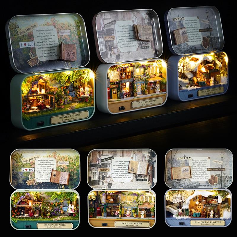Box Theatre Dollhouse Furniture Miniature Toy DIY Miniatures Doll House Furnitures Casa Toys for Children Birthday Gift Q4