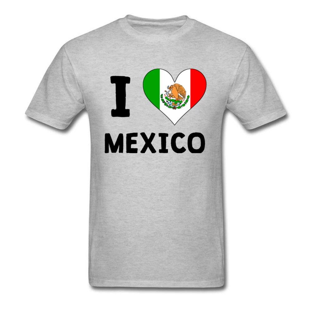 Camiseta I Love Mexico para hombre, camiseta con bandera del corazón, ropa escolar novedosa, camisetas 100% de algodón, camiseta con bandera de México, Tops grises con cuello redondo