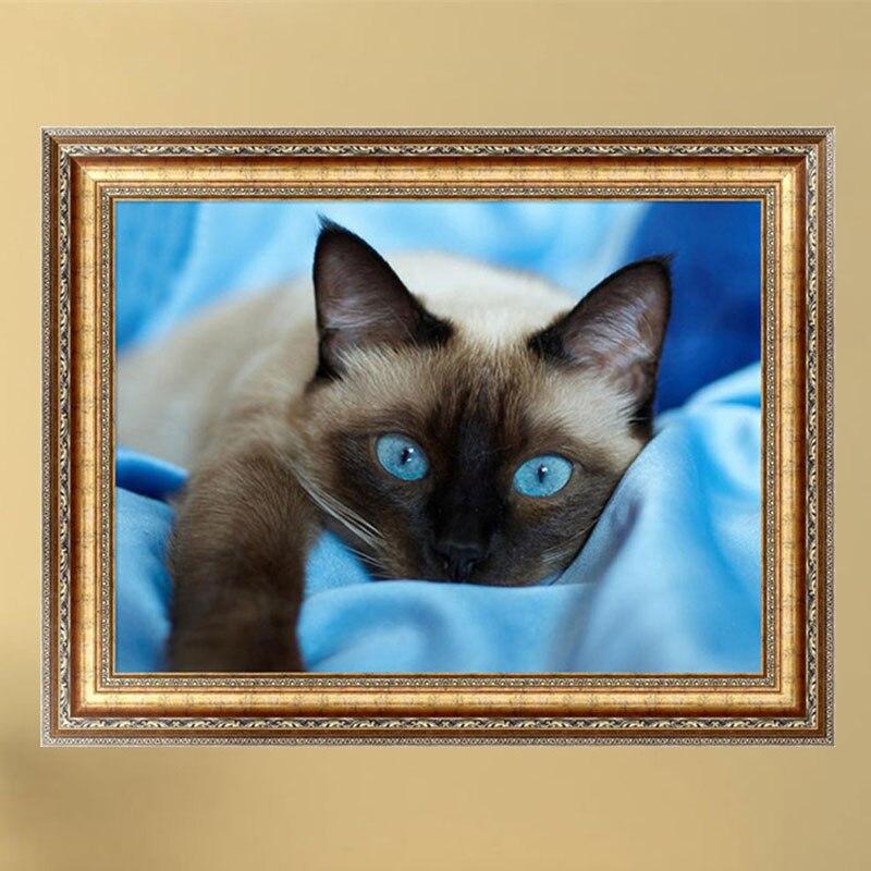 Домашний декор DIY 5D алмазная вышивка Серая кошка синяя картина с рисунком глаз Вышивка крестом Рукоделие мозаика