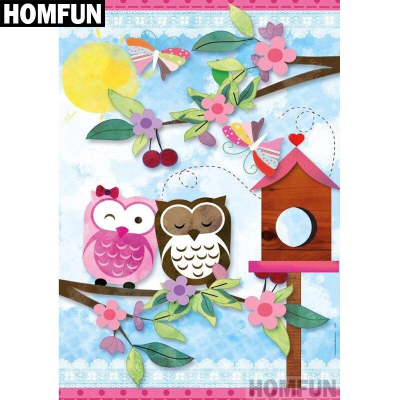 """HOMFUN taladro cuadrado/redondo completo 5D DIY pintura de diamante """"búho flor"""" bordado punto de cruz 5D decoración del hogar regalo A04125"""