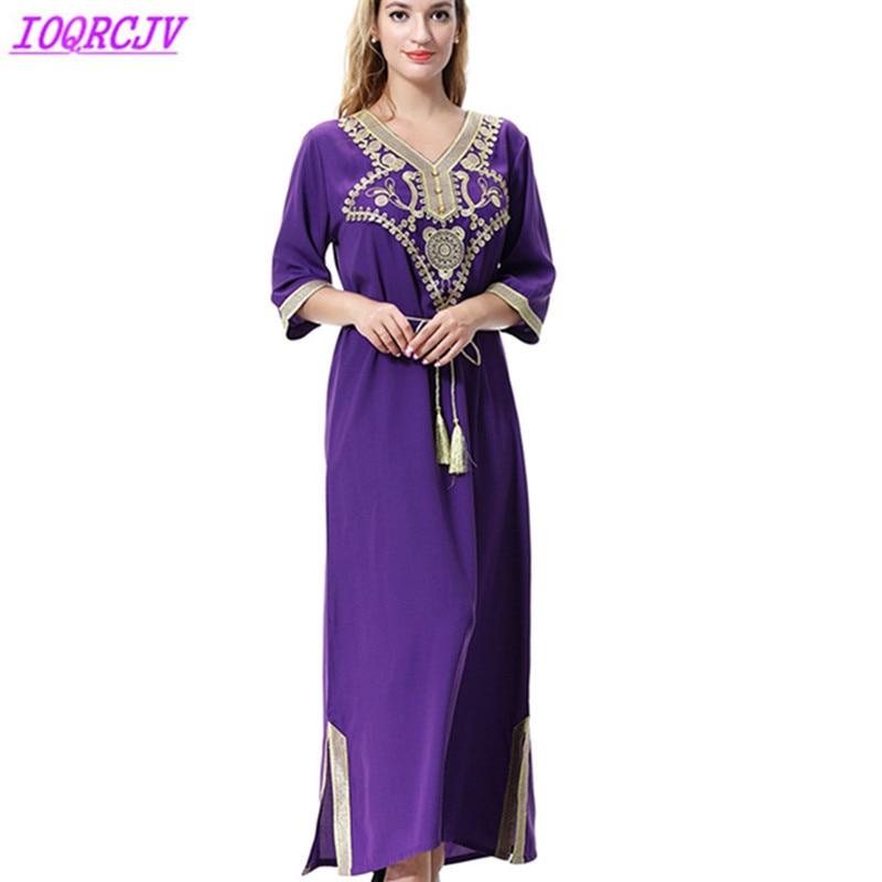 Long dress women Muslim dress summer maxi Islamic Abay caftan Plus size dress vintage embroidery Indie Folk dresses IOQRCJV H266