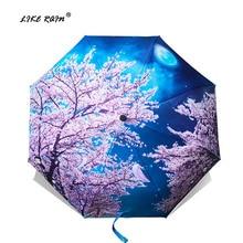 LIKE RAIN plegable de lluvia femenino Van Gogh pintura arte chino Sakura paraguas lluvia mujeres a prueba de viento Anti-UV Parasol YHS03