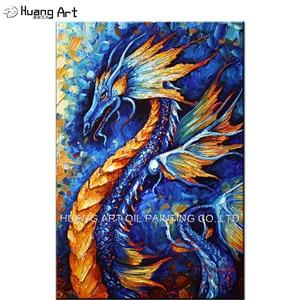 Картина маслом на холсте, с изображением дракона