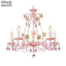 Lustre Rose de fleur de mariage, éclairage de lustre en cristal de décor de Rose, lampe accrochante de chambre denfants de fille de salle à manger de salon