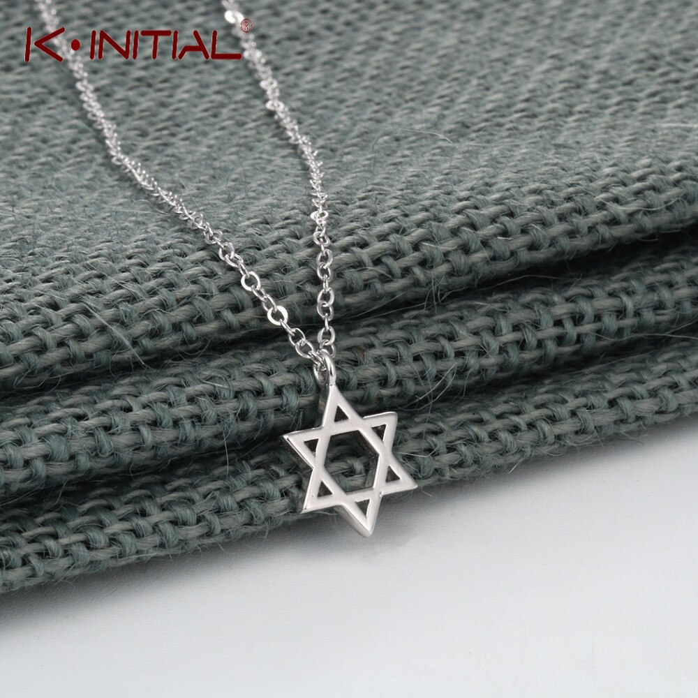 Kinitial New Hollow David of Star Necklaces Stars Geometric Pendant Necklace Bracelet For Women Girls Men Jewish Faith Jewelry
