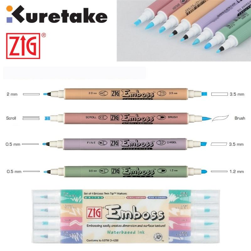 ZIG Kuretake Embossing Pens Glue Pens Calligraphy Scroll & Brush Fine & Chisel Japan