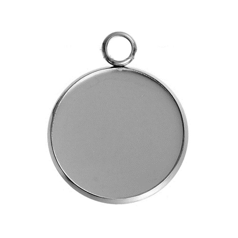 Doreenbeads Mode 304 Rvs Charms Ronde Zilveren Kleur Cabochon Instellingen (Past 20 Mm Dia.) 27 Mm X 22, 5 Stuks