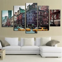 2017 special offer oil painting 5 piece new york car canvas painting modern home decor wall art picture printing for living room