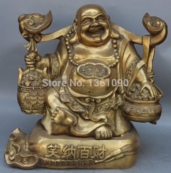 "xd 00364 20"" Bronze Happy Laugh Maitreya Buddha Wealth Money Bag Ruyi Jubao Pen Statue"