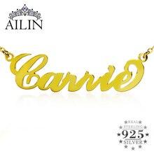 AILIN personnalisé nom personnalisé pendentif collier ras du cou couleur or argent CARRIE police plaque signalétique collier femmes bijoux cadeau