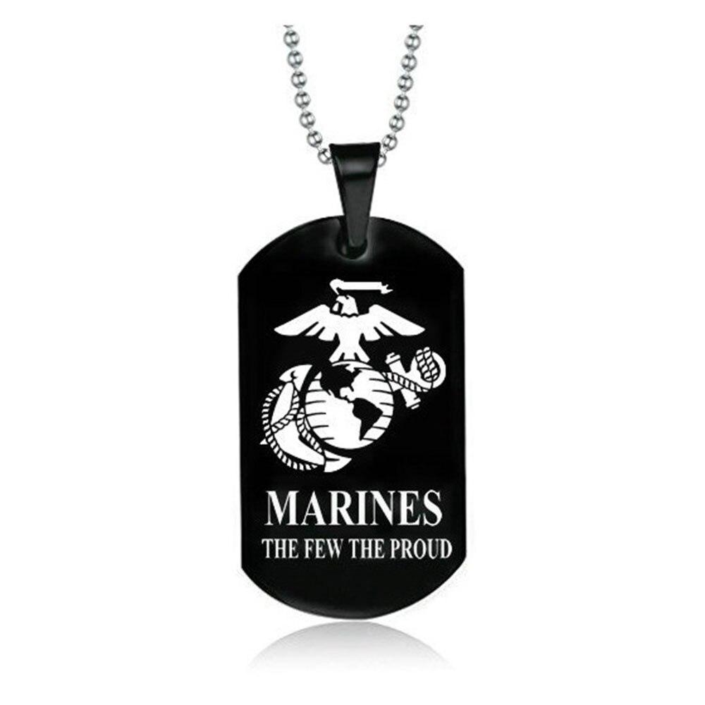 Yamily 10 unids/lote US Marines corps The few the proud grabado en acero inoxidable encanto colgante collar hombres regalo joyería
