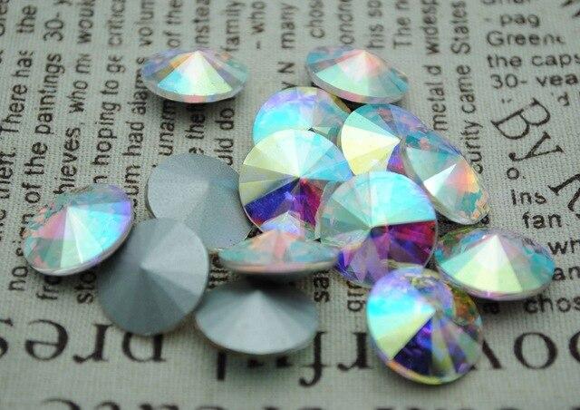 100 unids/lote Cristal AB Color 8mm,10mm,12mm,14mm,16mm,18mm,20mm China calidad superior redondo piedra de lujo Rivoli cuentas de vidrio